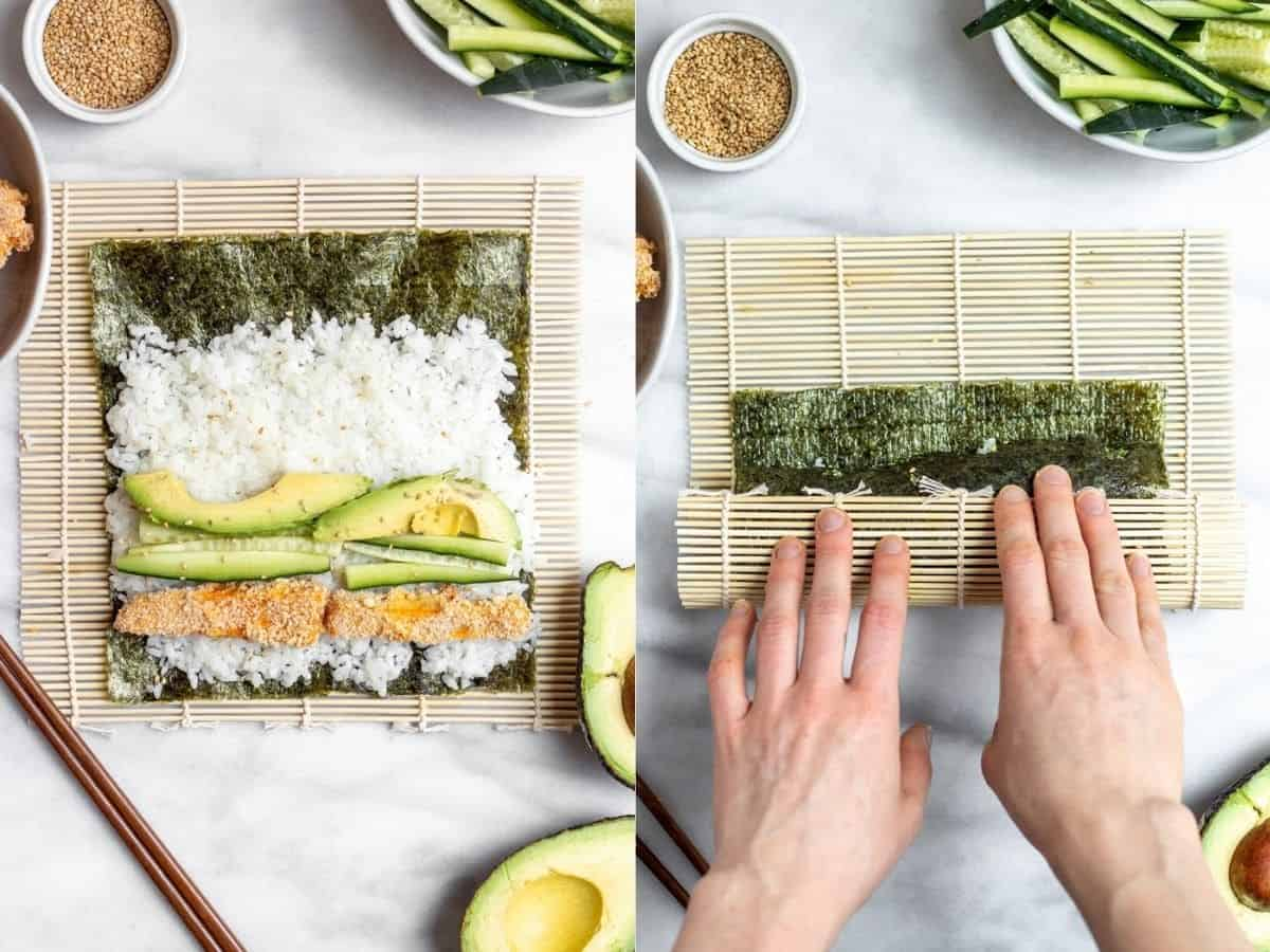 Rolling the sushi with a sushi mat