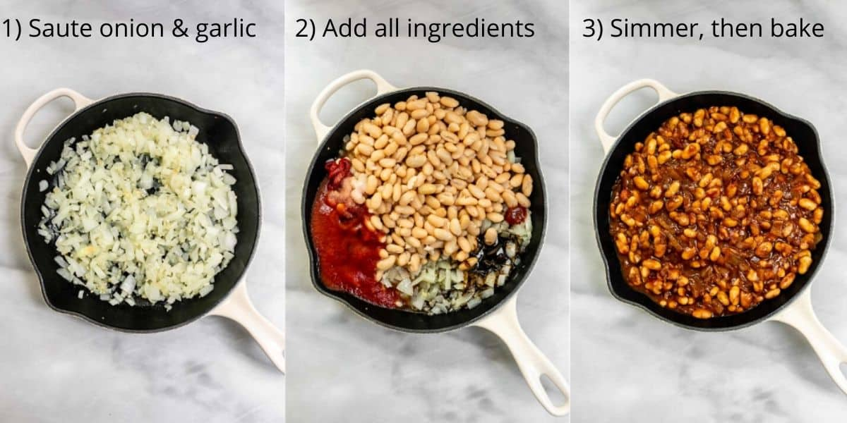 Three images of the pan showing how to make the recipe.