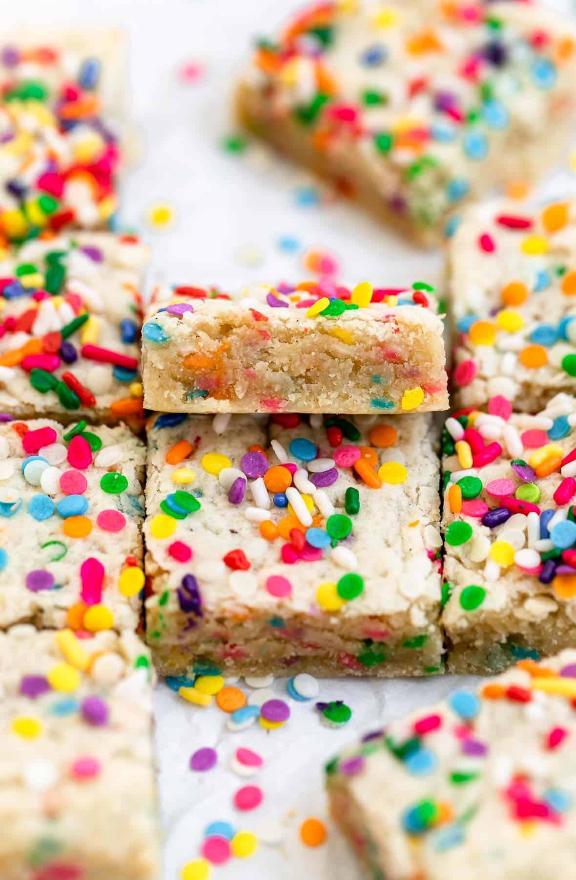 vegan funfetti blondies with sprinkles on top