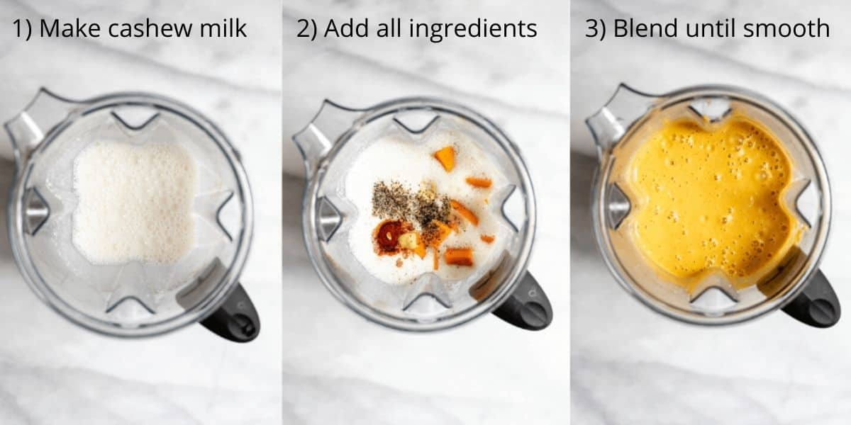 Three photos showing the process of making the sauce recipe.