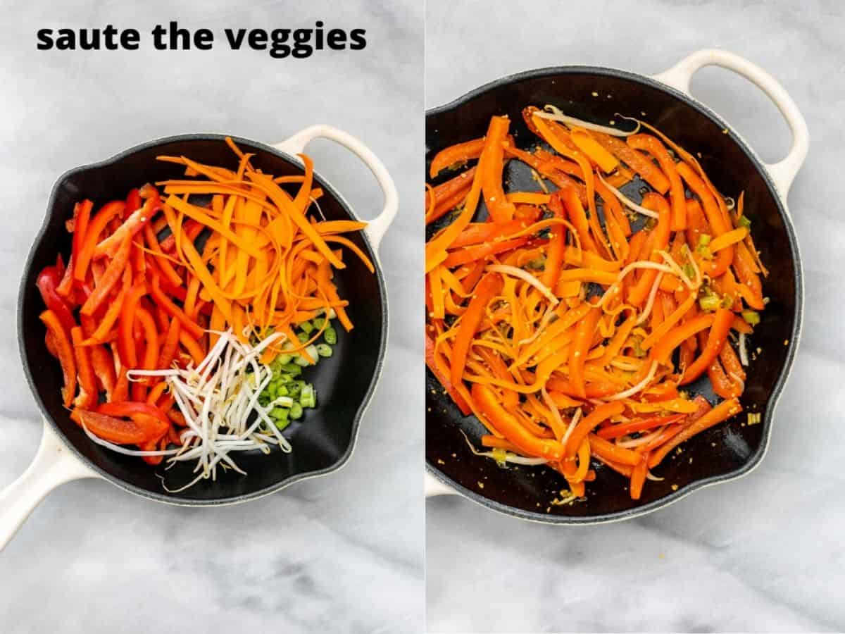 Two images showing how to make the veggies for the recipe.