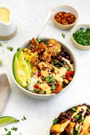 Vegetarian Roasted Cauliflower Burrito Bowl