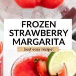 frozen strawberry margarita in a blender