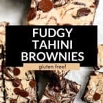 two images of tahini brownies