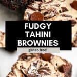 fudgy tahini brownies