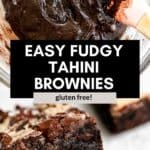 two images showing tahini brownies