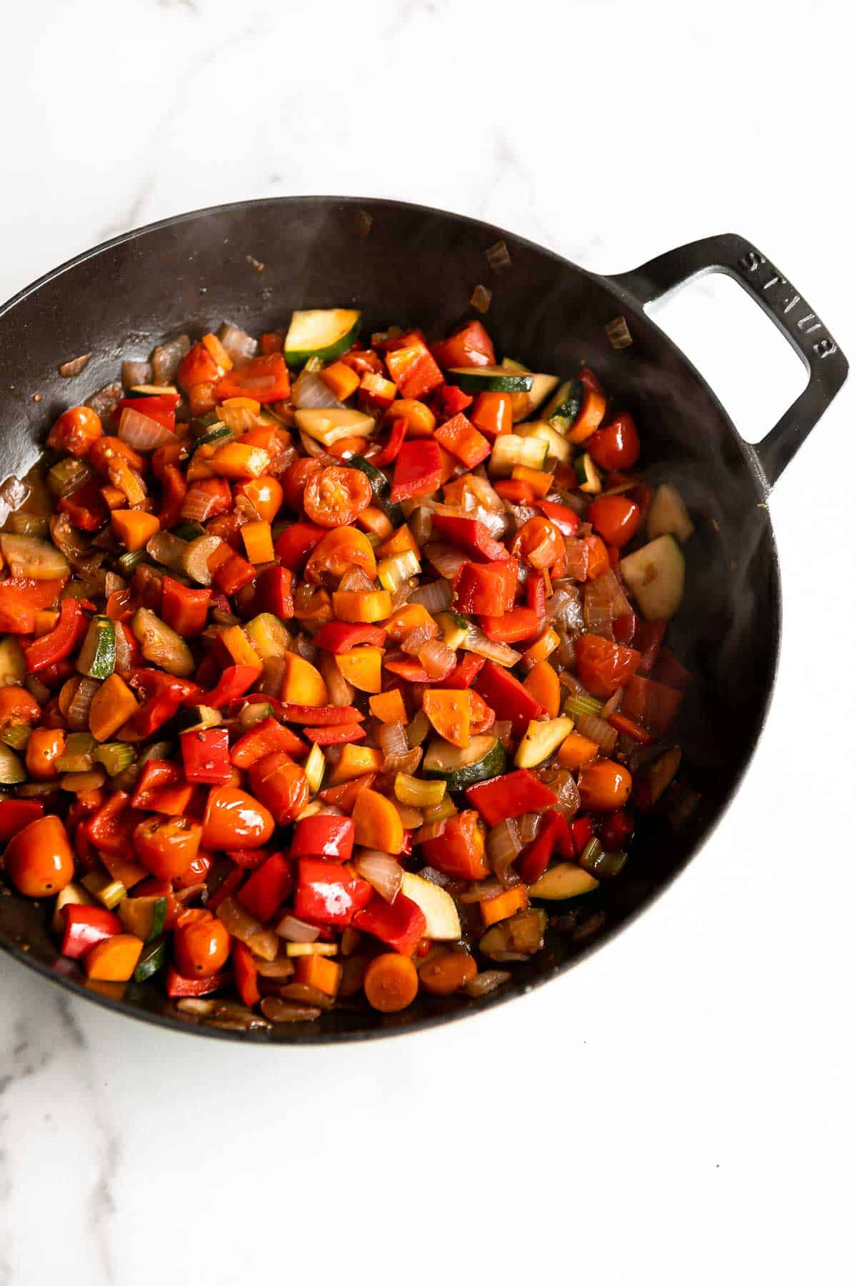vegetables sauteed in a pan