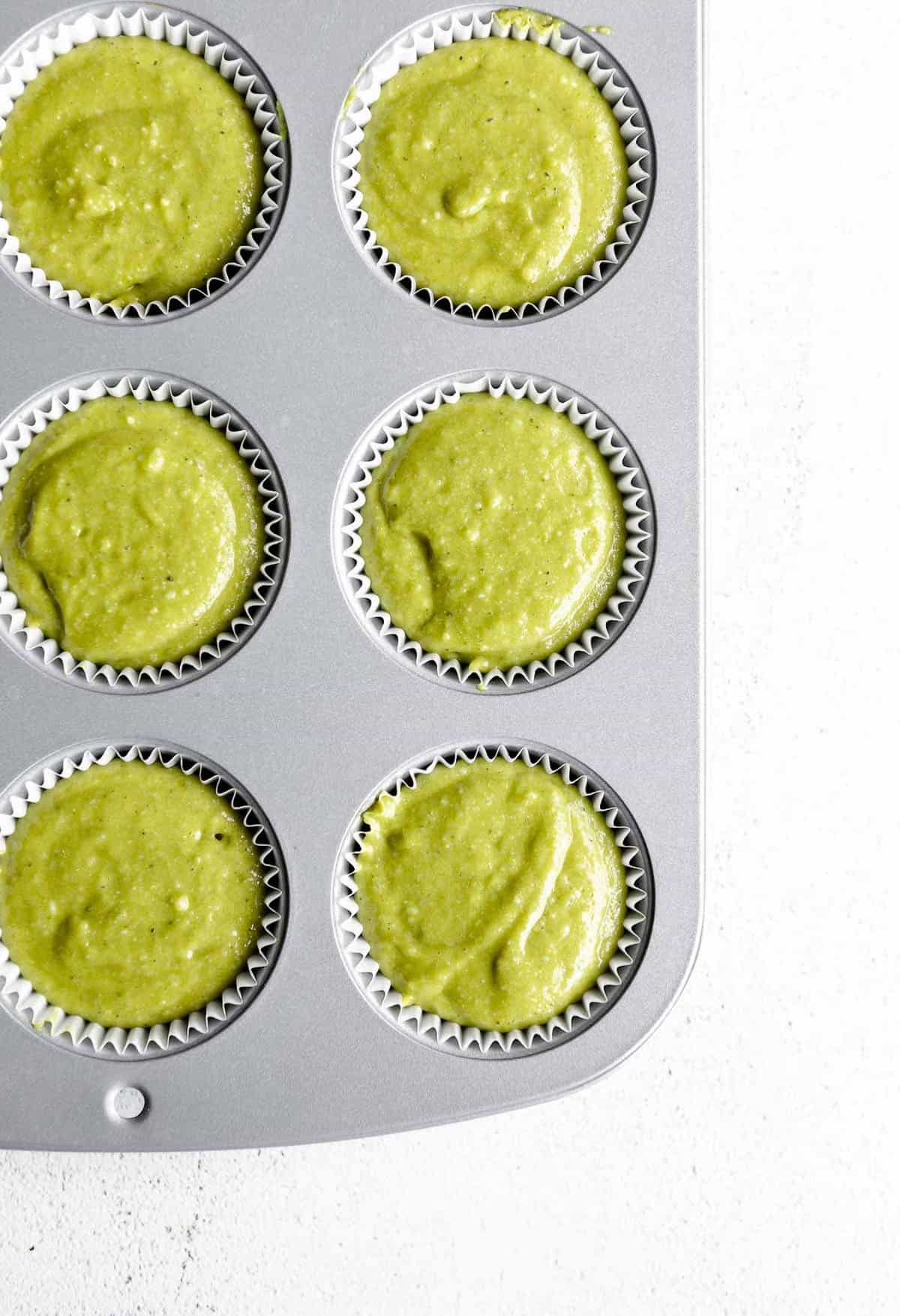 muffin batter in a tray before baking