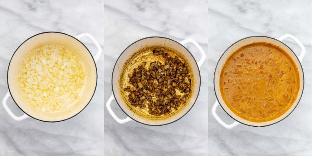 Three photos in a collage showing how to make the recipe.