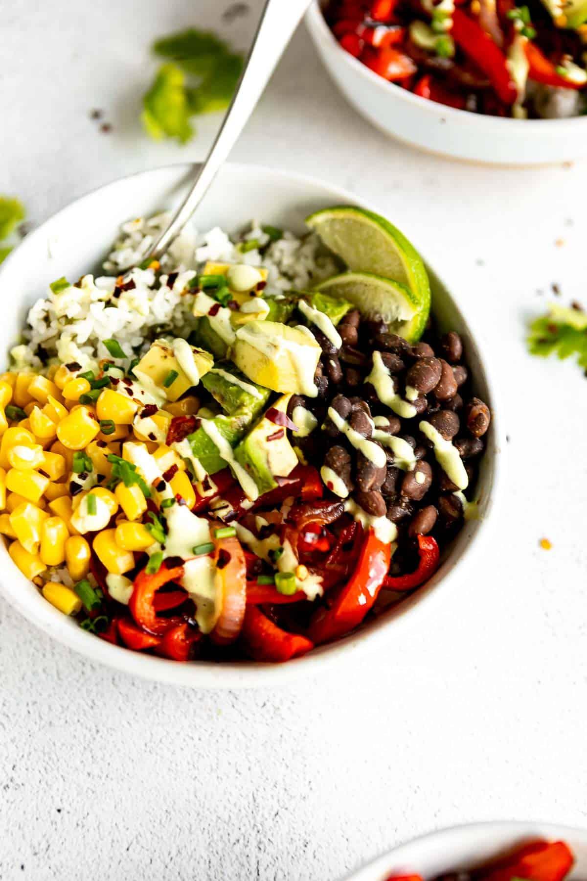 vegan burrito bowl with black beans and corn