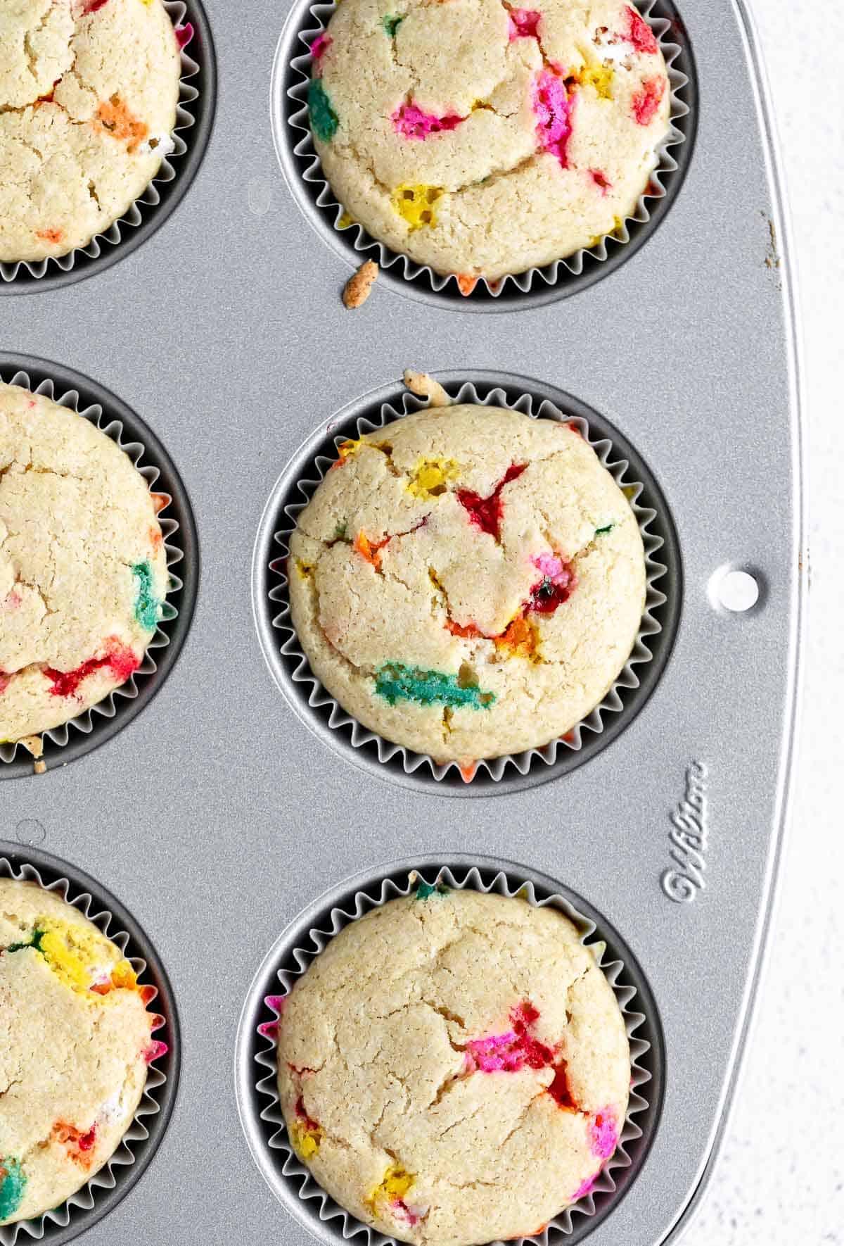 vegan funfetti cupcakes in the cupcake tray